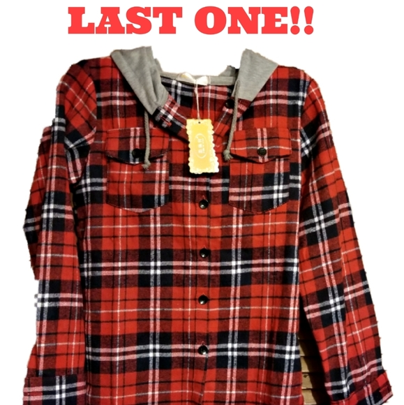Unbranded Other - LAST ONE! Youth Sized Button Up Hooded Flannel Top